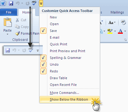 office quick access toolbar