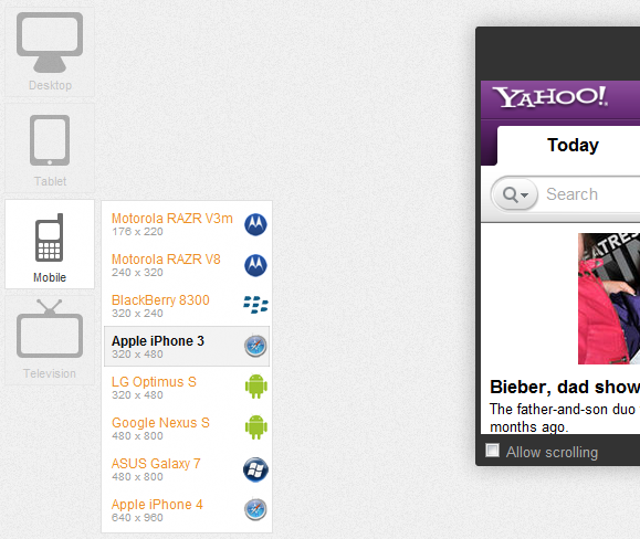 view website on different screen sizes