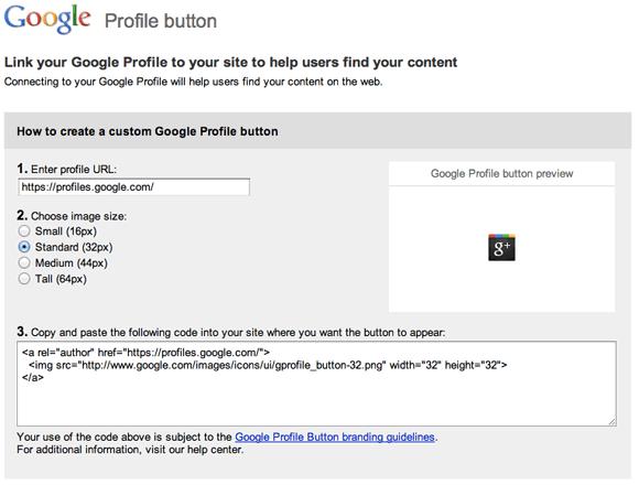 google+ profile button