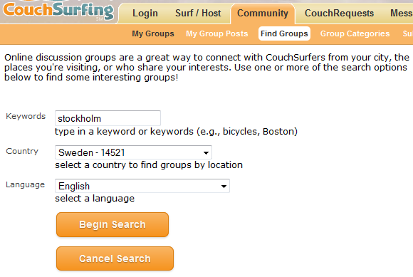 CouchSurfing Groups