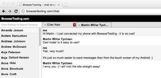 send sms from browser