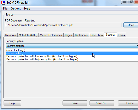 pdf meta   BeCyPDFMetaEdit: Remove Passwords From Encrypted PDF Files