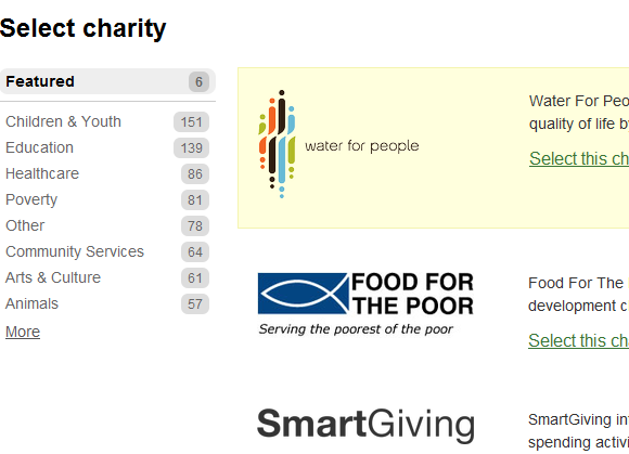 give change to charity