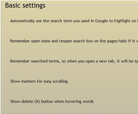 settings   efTwo: Finds Words & Their Inflections On Webpages [Chrome]