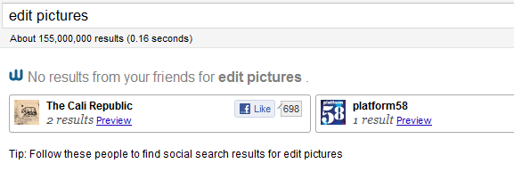 search results social