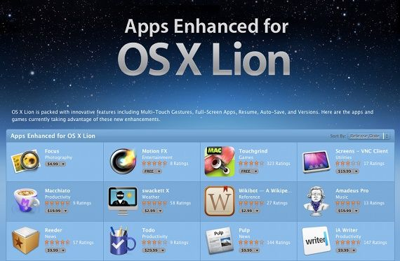 'Apps Enhanced For OS X Lion' Receive Special Treatment In The App Store [News] lionapp