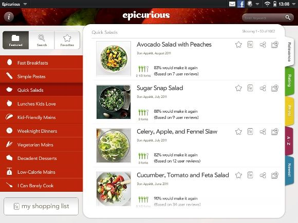 epicurious a free recipe shopping list app ios webos android