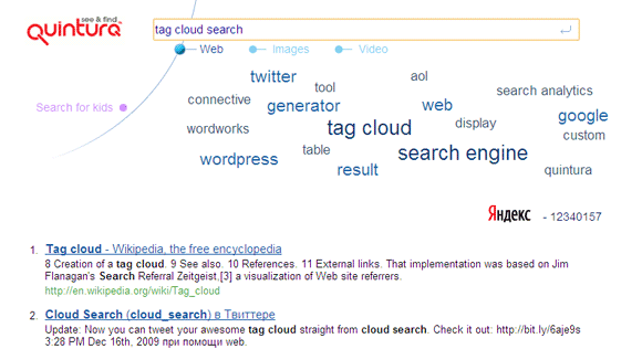 search with tag cloud