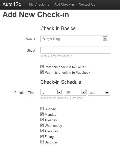 schedule foursquare check-in