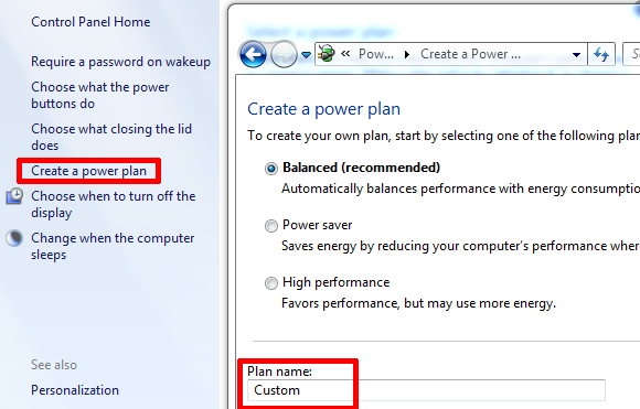 windows 7 power settings