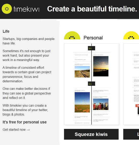 timekiwi   TimeKiwi: Aggregates Your Twitter, Blog & Photo Feeds In A Beautiful Timeline