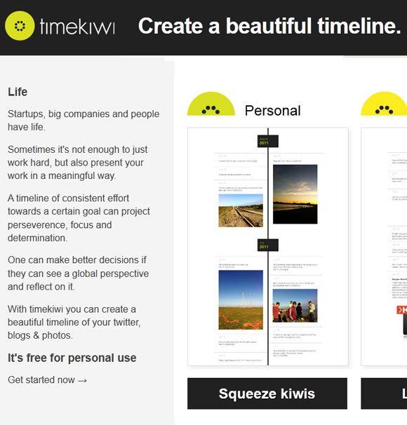 timekiwi   TimeKiwi: Aggregates Your Twitter, Blog & Photo Feeds In A Beautiful Timeline