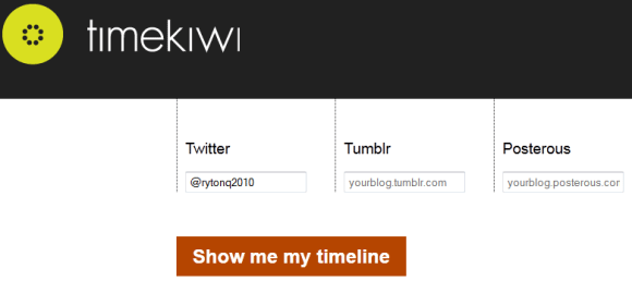timekiwi1   TimeKiwi: Aggregates Your Twitter, Blog & Photo Feeds In A Beautiful Timeline