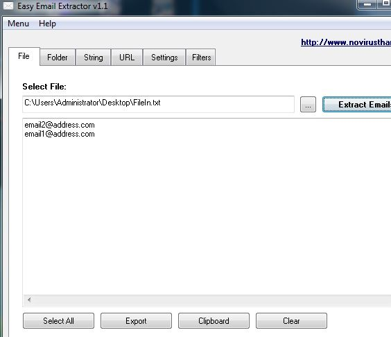 extract email addresses from files