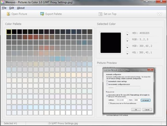color palette of image