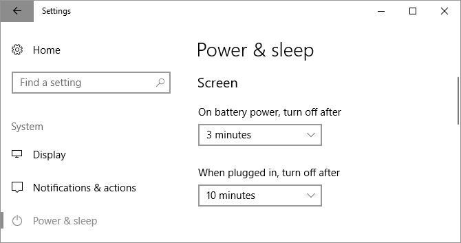 Настройки питания и сна в Windows 10, которые определяют, насколько быстро экран отключается от батареи или при подключении