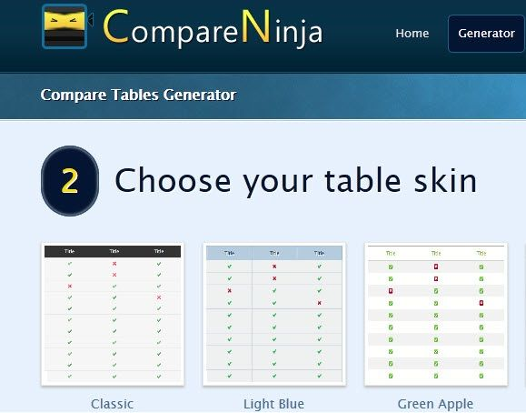 create table online html