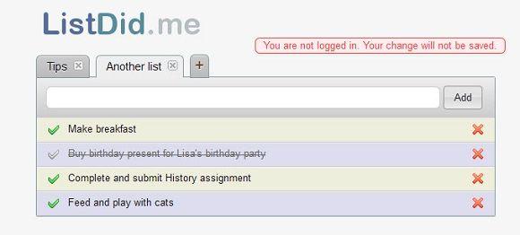ListDid   ListDid.me: A Simple Tool To Create To Do Lists Online