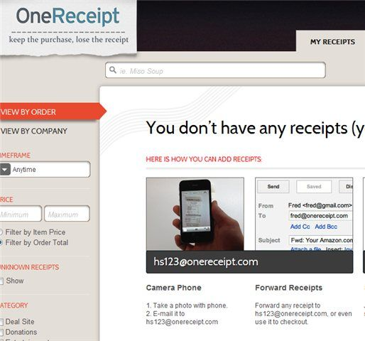 OneReceipt   OneReceipt: Store All Your Purchase Receipts Online
