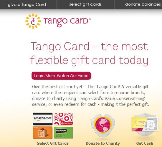 Tango Card   TangoCard: A Gift Card Which Allow People To Select Gifts Themselves
