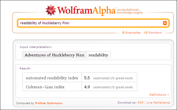 10 Cool Uses Of Wolfram Alpha If You Read And Write In The English Language Wolfram Alpha06