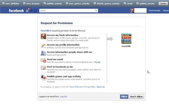 app permissions on facebook