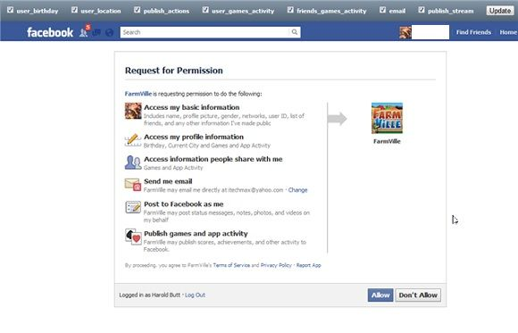 app permissions on facebook