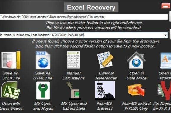 recover corrupt excel data