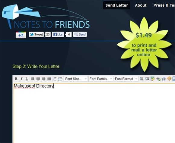 Notes To Friends   Notes To Friends: Print & Mail Letters Online