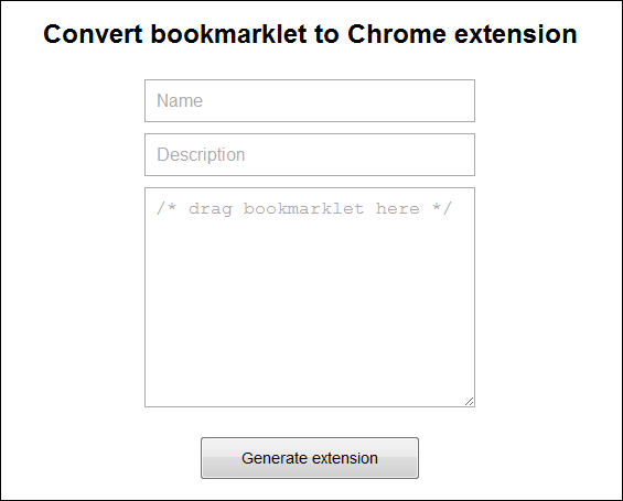 convert bookmarklet to chrome extension