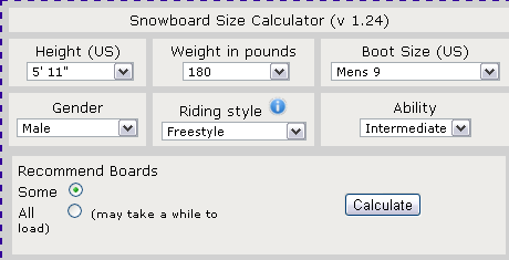 find the right size snowboard