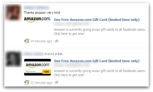 Facebook scam offers a free amazon gift card dont fall for it news if this is not suspicious enough the link also states that amazon is currently giving away gift cards to all facebook users and urges you to click it to negle Choice Image