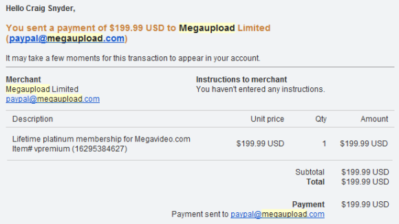 Why MegaUpload, And Who's Next? megaupload receipt