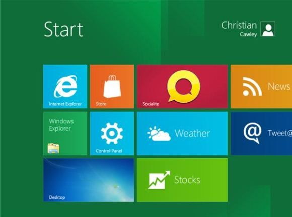 The new Start screen in Windows 8, powered by the Metro UI