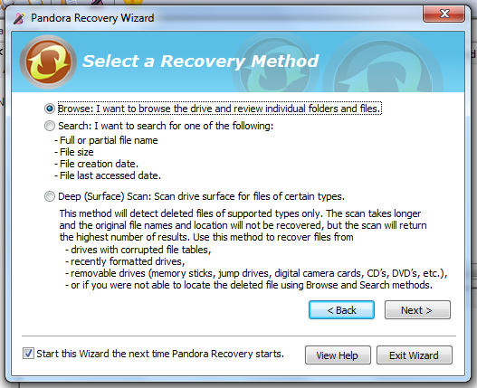 Recover Lost Data For Free With Pandora Recovery [Windows] pandora wizard browse
