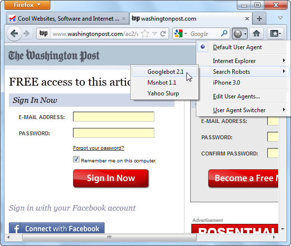Impersonate Other Browsers With User Agent Switcher [Firefox] screenshot 12