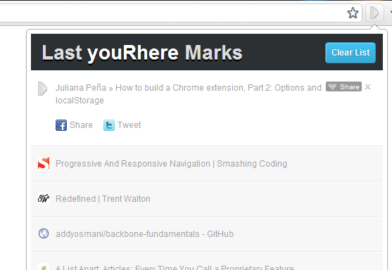 YouRhere: Quickly Mark Webpages For Reading Later [Chrome] yourhere1
