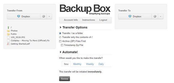Backup Box   Backup Box: Easily Transfer Files From Dropbox To FTP & Vice Versa