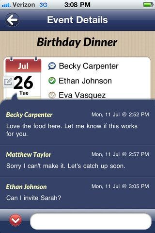 Dinner   SynkMonkey: An App To Schedule Events & Plan Dates With Your Friends