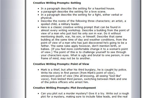 creative writing ideas for adults