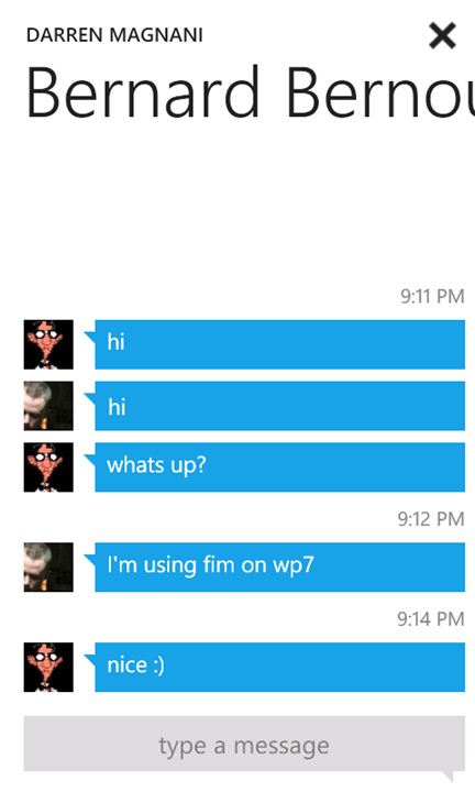 windows phone instant messaging