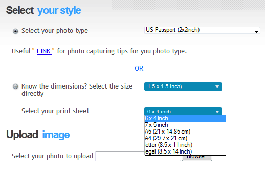 create passport size photos