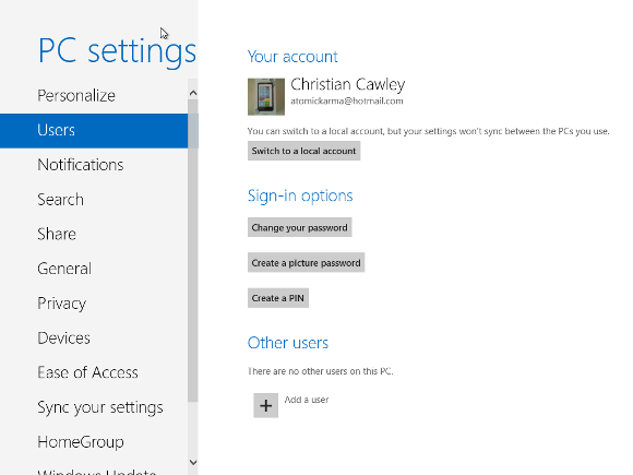 Adding a new user in Windows 8