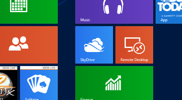 The SkyDrive tile should be found on the Windows 8 Start screen