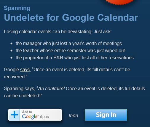 Google Calendar Undelete Event