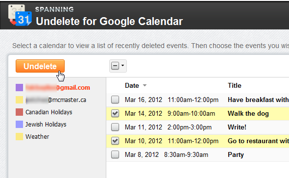 undelete calendar events google