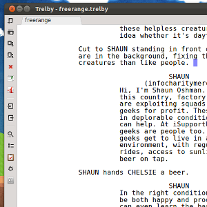 trelby a free screenplay writing software for windows linux