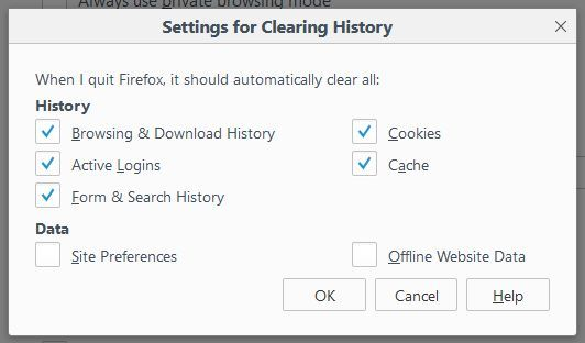 Firefox Settings for Clearing History