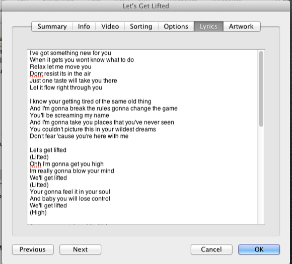 add lyrics to itunes