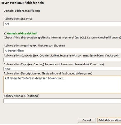 add   ABBREX: Automatically Reveal The Meanings Of Abbreviations On Webpages [Firefox & Chrome]